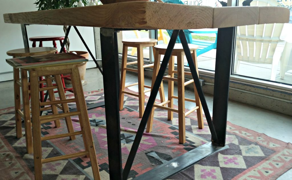 fabricated metal work table legs